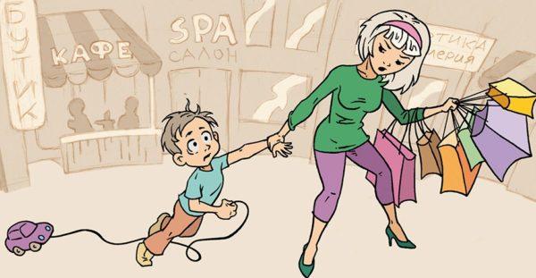 Мама, тянет ребенка за руку